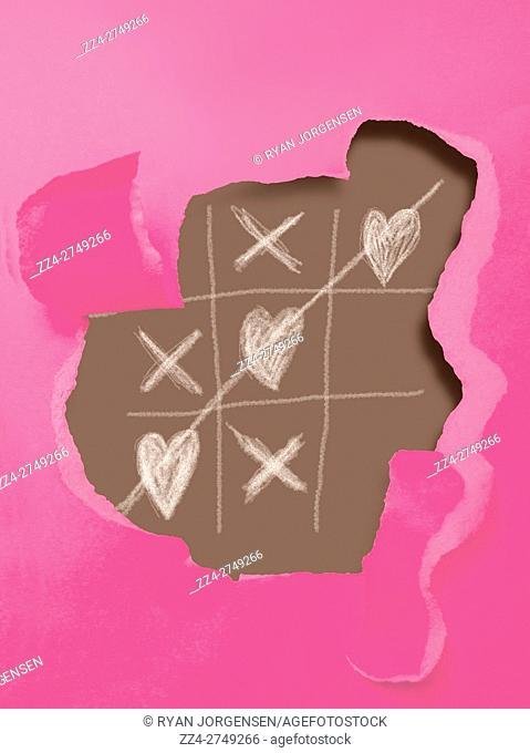 Creative still life artwork on a ripped pink card showcasing a game board of naught hearts and crosses. Games of love
