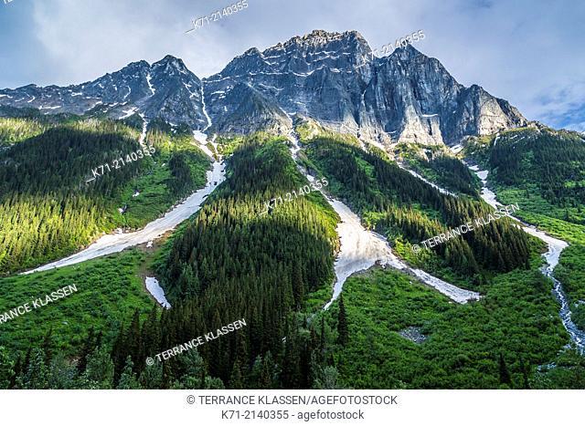 Glaciated mountain peaks in Glacier National Park, British Columbia, Canada