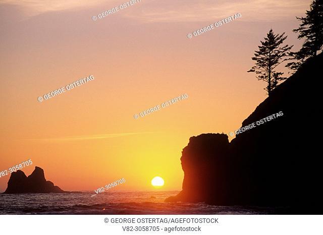 Seastack sunset at Second Beach, Olympic National Park, Washington