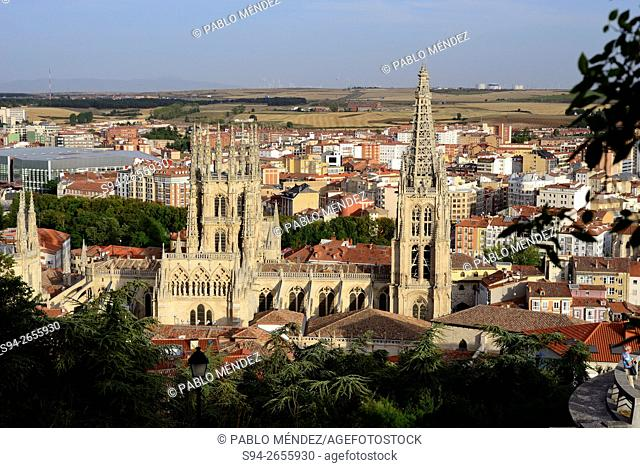 Overview of Burgos cathedral from the castle, Burgos, Spain