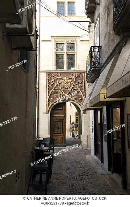 Narrow cobbled street with decorative ironwork balconies and shop front canopies, leading to the distinctive entwined foliage work and crested entrance of the...