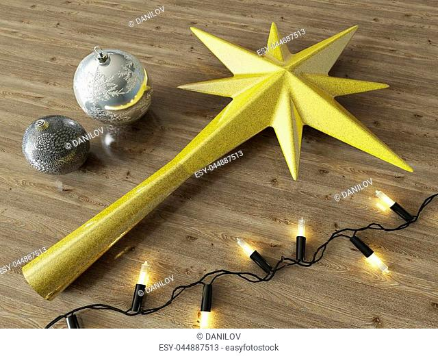 3d render of a gold star and Christmas decoration with black lights on a wooden background