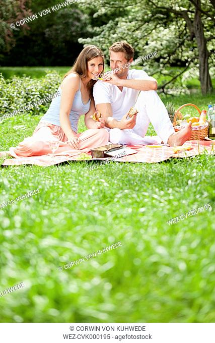 Happy couple having a picnic in park
