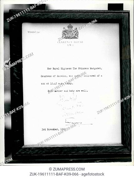 Nov. 11, 1961 - Princess Margaret gives Birth to a son; Princess Margaret this morning gave birth to a son at Clarence House