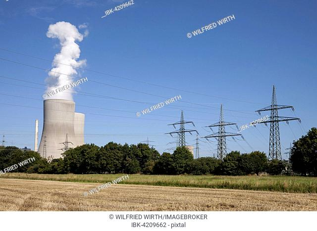 Cooling towers and pylons, coal power plant, power plant Westphalia, RWE Power, Hamm-Uentrop, Hamm, North Rhine-Westphalia, Germany
