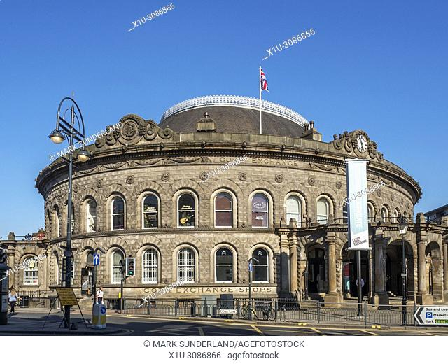 Victorian Corn Exchange building converted to shopping units in Leeds West Yorkshire England