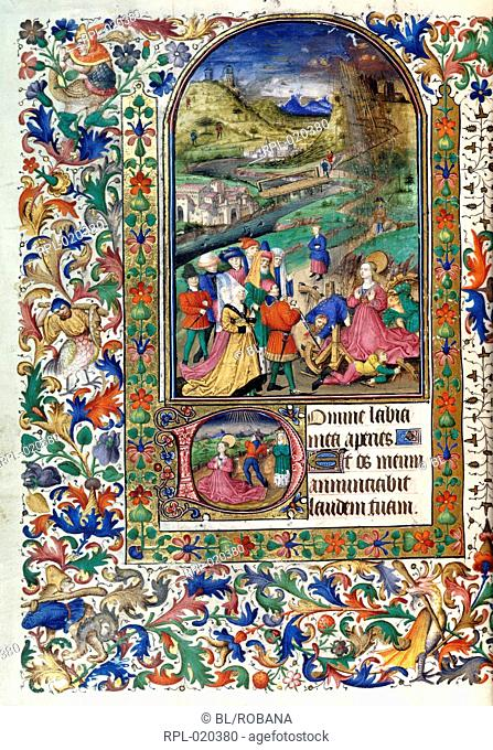 Martyrdom of St Catherine, Whole folio Office of St Catherine. St Catherine kneeling, in landscape, with fire from Heaven breaking wheel of martyrdom
