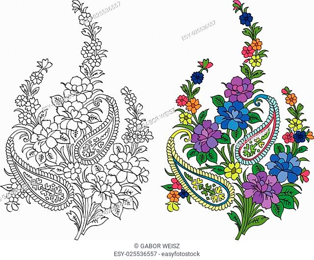 Flourish motifs in colour and in black and white