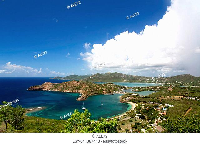 Antigua, a panoramic view of English Harbor from Shirley Heights