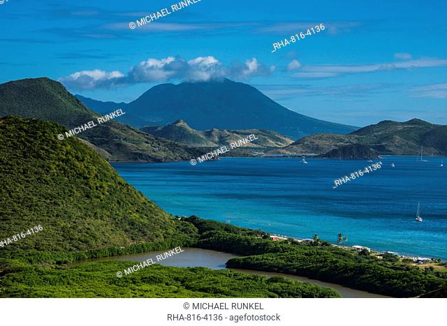 View over the South Peninsula on St. Kitts, St. Kitts and Nevis, Leeward Islands, West Indies, Caribbean, Central America