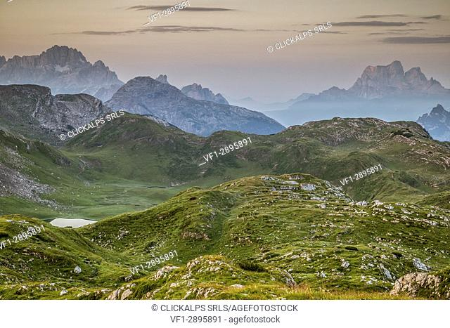 Mountain pasture of Fosses in the Regional Natural Park of the Ampezzo Dolomites,Cortina d'Ampezzo,Belluno district,Veneto,Italy,Europe