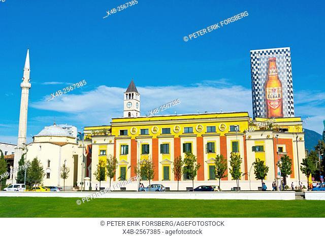 Xhamia e Et'hem Beut mosque, town hall, and clock tower, Sheshi Skenderbej,Skanderbeg square, Tirana, Albania