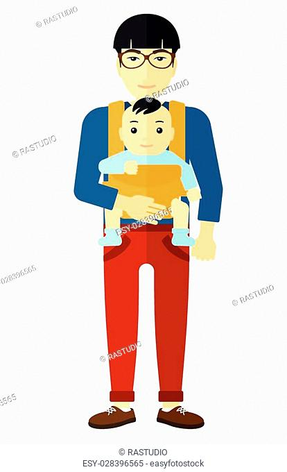 An asian man carrying a baby in sling vector flat design illustration isolated on white background