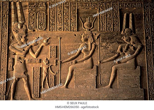 Egypt, Upper Egypt, Denderah Temple dedied to Goddess Hathor, built under Greco-Roman influence during the Ptolemaic Period, bas relief with Hathor on a throne