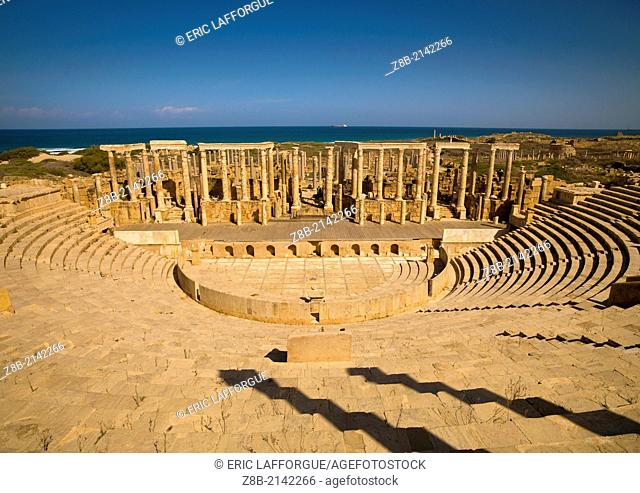 KHOMS, LIBYA - APRIL 03: Leptis Magna was a prominent city of the Roman Empire, its ruins are located in Khoms, east of Tripoli