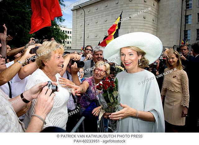 Queen Mathilde of Belgium attends the Te Deum mass at the Cathedral of St. Michael and St. Gudula in Brussels, Belgium, 21 July 2015