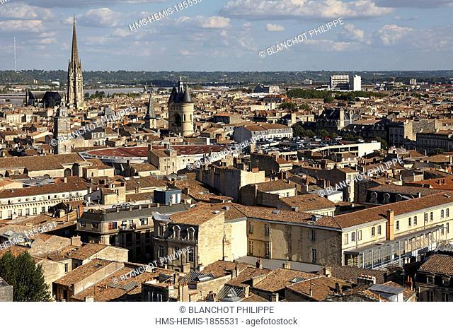 France, Gironde, Bordeaux, area listed as World Heritage by UNESCO, old town seen from the top of Pey Berland tower, Basilica of Saint Michael
