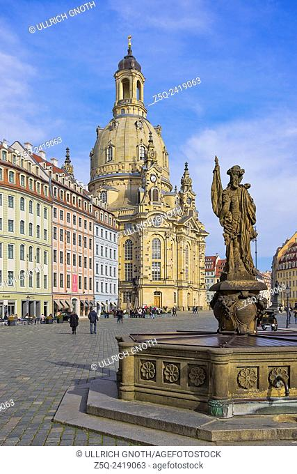 The Frauenkirche Church and Friedensbrunnen Fountain, Dresden, Saxony, Germany, as seen as from Judenhof Square
