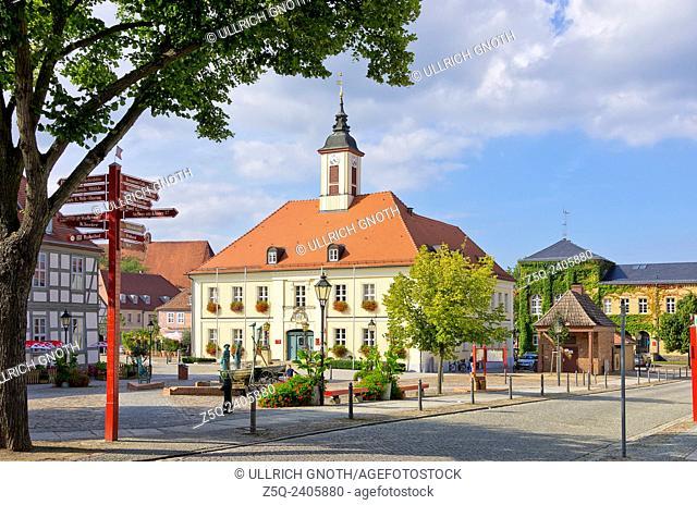 Market square and townhall, Angermunde, Brandenburg, Germany