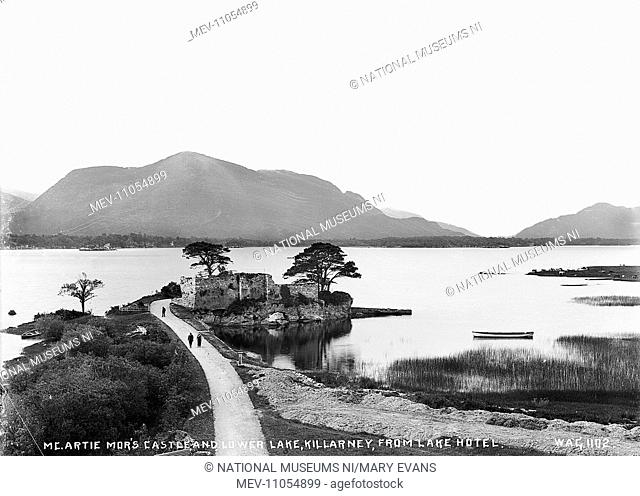 Mc.Artie Mor's Castle, and Lower Lake, Killarney, from Lake Hotel - a scenic view over the lake to the mountains beyond with a derelict castle in the foreground