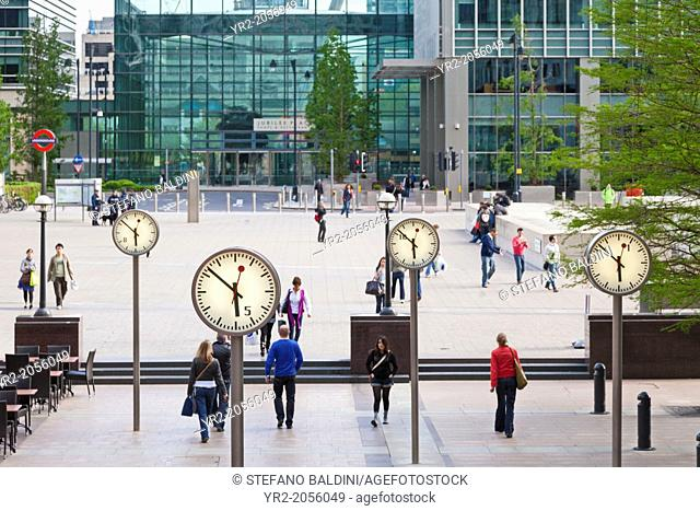 Canary Wharf clocks, London, UK