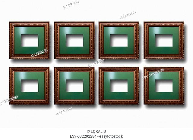 Gilded wooden frames for pictures on white isolated background