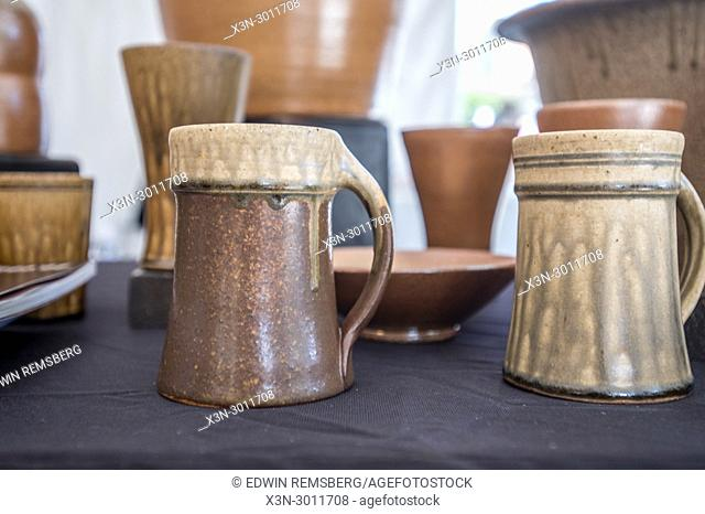 Collection of hand-crafted ceramic mugs and other pottery for sale, Greensboro, North Carolina. USA