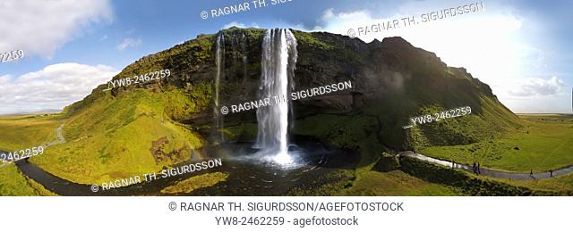 Seljalandsfoss Waterfall in the summer, panoramic view, shot using a drone, Iceland
