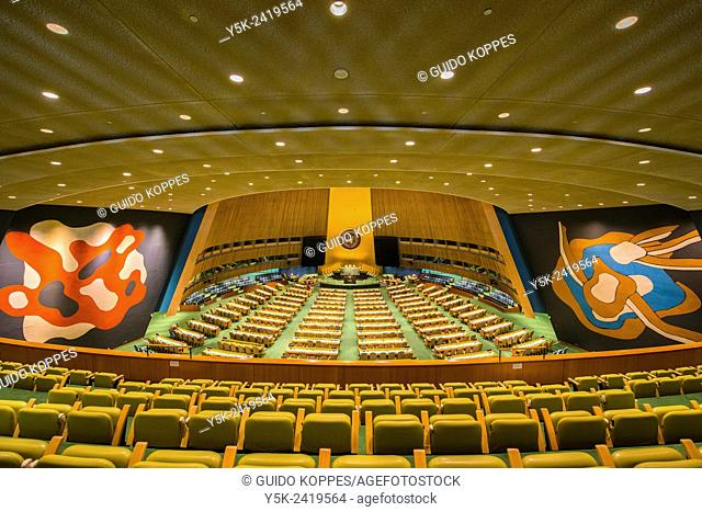 New York, USA. Main conference room of the General Assembly inside the United Nations Head Quarters, Manhattan