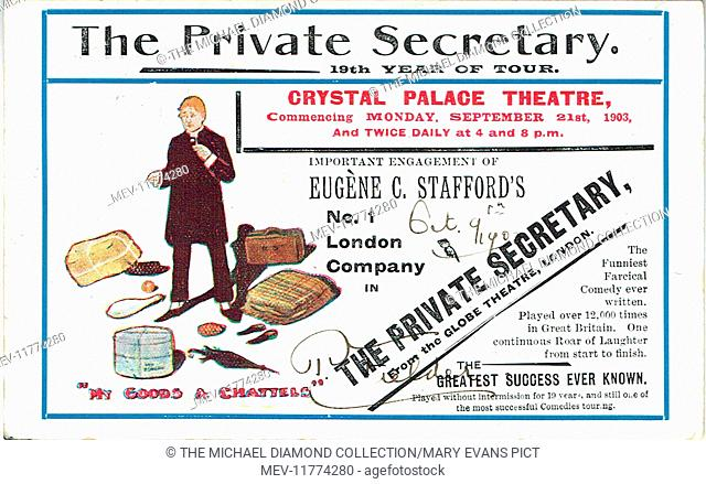 """Promotional postcard for The Private Secretary by Charles Hawtrey, from """"Der B ibliothekar"""" by Gustav Von Moser (1878). First pro-duced Theatre Royal"""