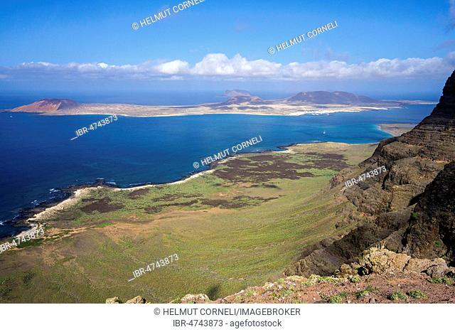 View from the Mirador de Guinate to the island of La Graciosa, Lanzarote, Canary Islands, Spain