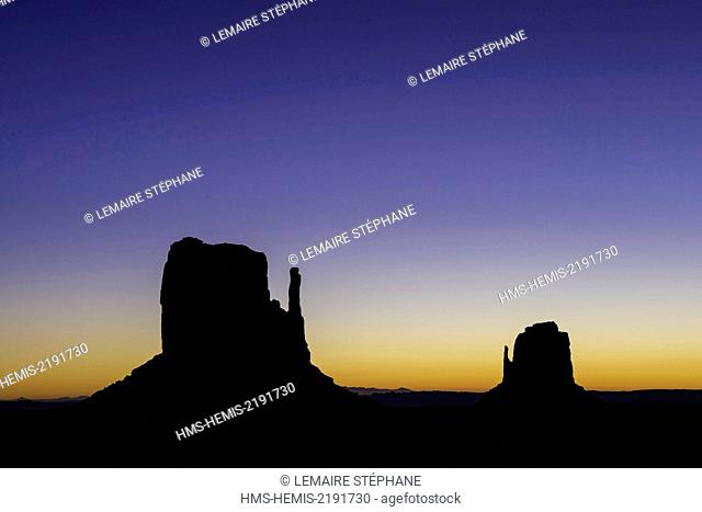 United States, Arizona, Monument Valley Navajo Tribal Park, The Mittens Rocks
