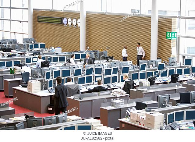 High angle view of businesspeople working in office