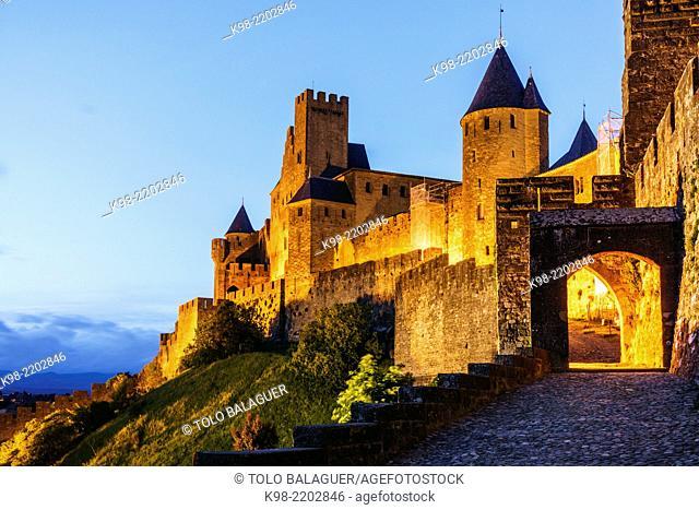 ciudadela amurallada de Carcasona, declarada en 1997 Patrimonio de la Humanidad por la Unesco, capital del departamento del Aude, region Languedoc-Rosellon