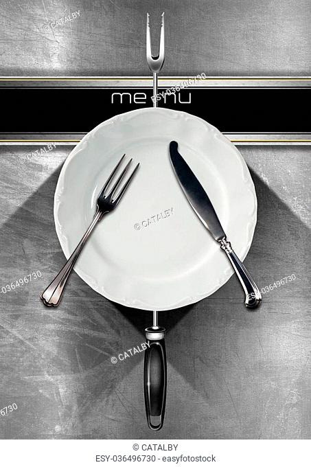 Restaurant menu with empty plate and cutlery, on steel brushed background with black horizontal band and written menu