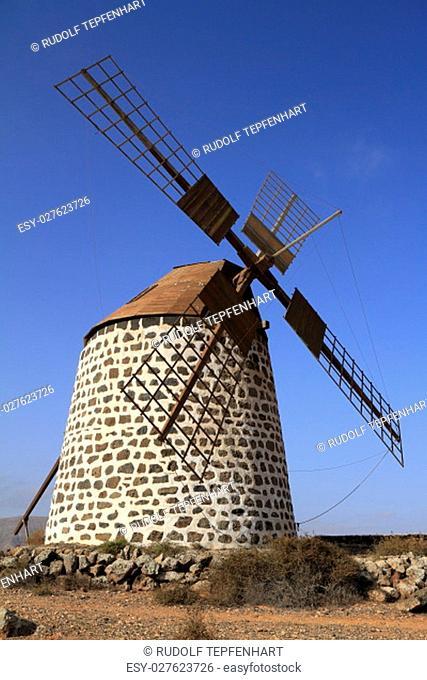 Old round windmill in Villaverde, Fuerteventura, Canary Islands, Spain