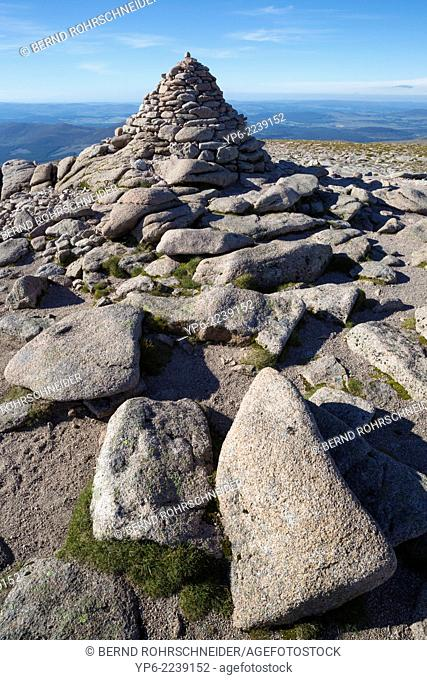 summit of Cairn Gorm with cairn, Cairngorms National Park, Scotland