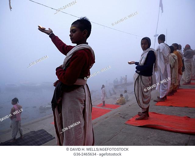 Children practicing yoga, Varanasi, Uttar Pradesh, India