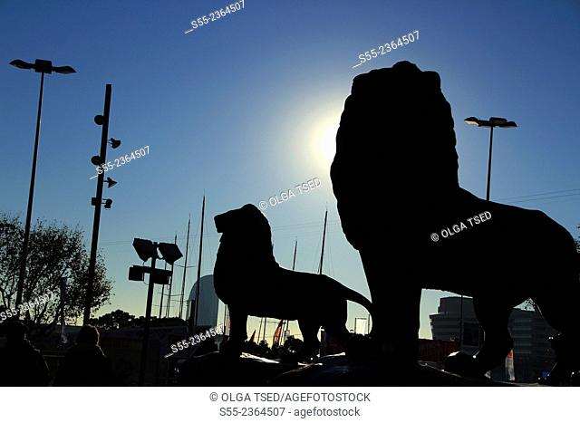 Lions, monument to Columbus, detail. Maremagnum area, Barcelona, Catalonia, Spain