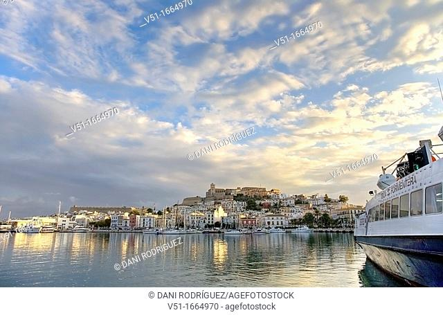 Views of Dalt Vila, old town of Ibiza, Balearic Islands, Spain