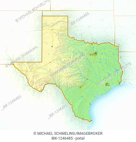 Texas, shaded relief map, USA