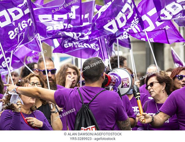 Members of The Workers' Commissions (Spanish: Comisiones Obreras, CCOO) trade union protesting in Las Palmas on Gran Canaria on International Women's Day 2019