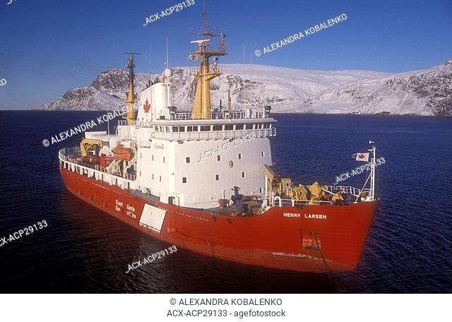 Canadian coast guard icebreaker Henry Larsen off the coast of northern Baffin Island, near Pond Inlet, Nunavut, Canada