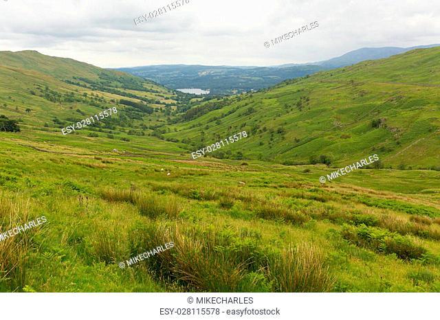 Kirkstone Pass view towards Grasmere by Kirkstone Pass Inn Lake District England UK