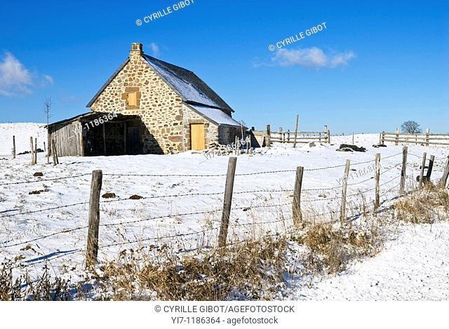 Barn in the snow, Cantal, Auvergne, France