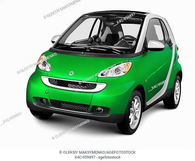 Green fuel efficient mini car Smart Fortwo  Isolated silhouette with a clipping path on white background
