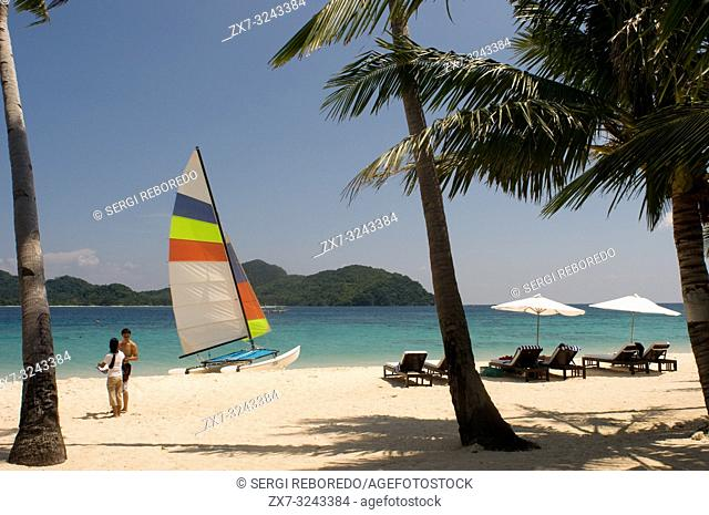 Sailing boat on the island of Pangulasian. Palawan Philippines, Southeast Asia, Asia