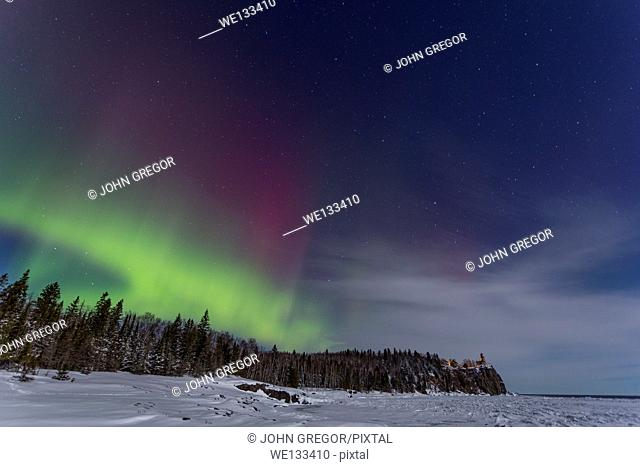 Aurora Borealis Over Split Rock Lighthouse, North Shore, Lake Superior, Minnesota