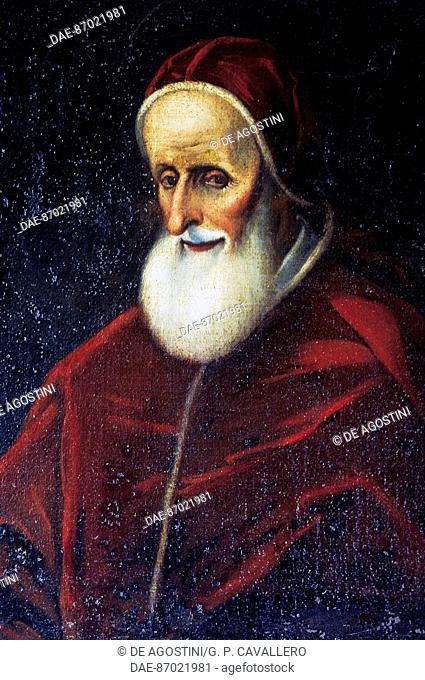 Portrait of Pope Pius V (Bosco Marengo, 1504-Rome, 1572), native home, Bosco Marengo, Piedmont, Italy