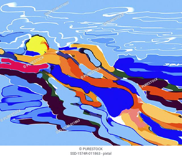 Swimmer 2002 Diana Ong (b.1940/Chinese-American) Computer graphics